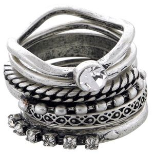 Set Of 6 Antique Silver Stackable Rings, NWT